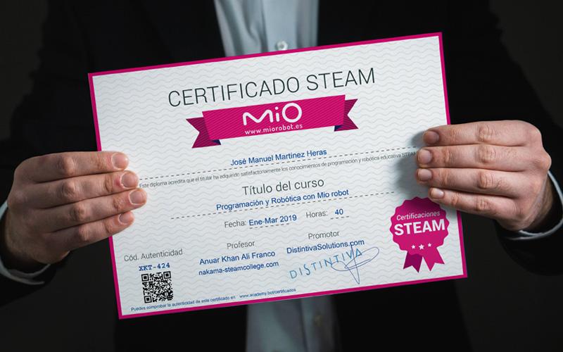Certificados Mio robot a profesores